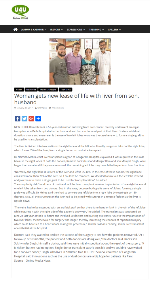 Woman gets new lease of life with liver from son, husband